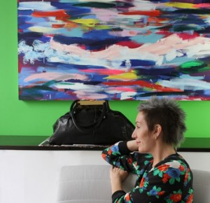 Jslow sporting her MSGM sweatshirt with her Sonia Rykiel bag. She enjoys matching her artwork.