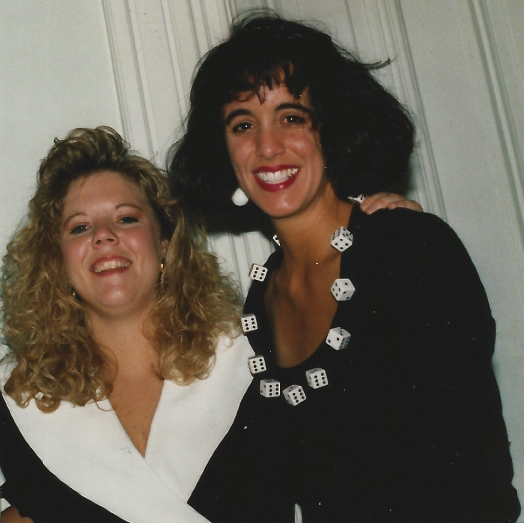 Me + Kelly at a wedding circa late 80s. Dress by Patrick Kelly. Yes, those are real dice.