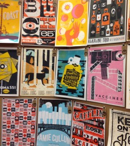"""Gig"" posters from Flatstock, SXSW."