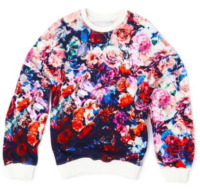 MSGM Fall 2013 Flower-stamped Sweatshirt, available this fall, $535