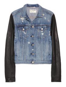 Rag & Bone Leather-sleeved distressed denim jacket, Net-A-Porter.