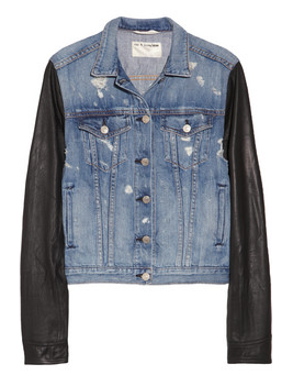 Rag & Bone Leather-sleeved distressed denim jacket, Net-A-Porter.