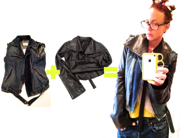 Don't phone it in: Learn to layer. Current/Elliott vest + Gareth Pugh leather shrug = new jacket.