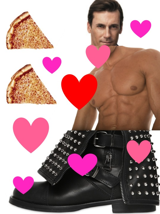 Boots through beer goggles: Giamcomorelli studded biker boots + stud, John Hamm. And pizza of course.