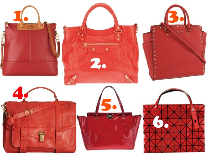 Red tote bags handbags