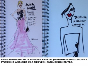 ANNA GUNN JULIANA MARGULIES EMMYS13 PAULA MANGIN ILLUSTRATIONS