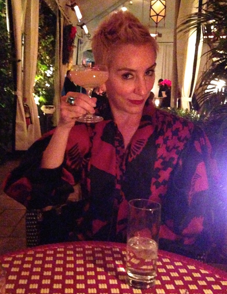 Jslow knows all in her Alexander McQueen consignment top, sipping champagne at the Chateau Marmont