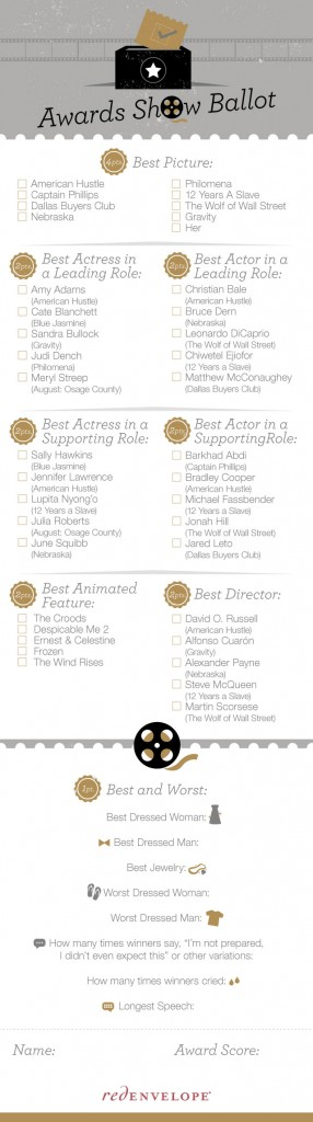 Red Envelope Oscar Awards Ballot