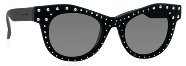 Italia Independent sunglasses, classic stud frame. Jslow bought these velvet beauties with rose-gold studs, one of her signature moves.
