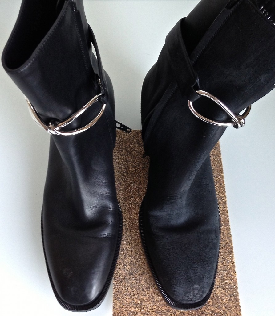 Balenciaga boots, pre and post sandpaper. So much better, right?