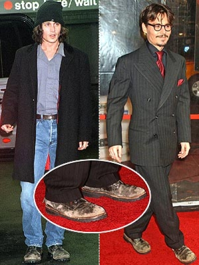 Johnny Depp in his signature scuffed boots.