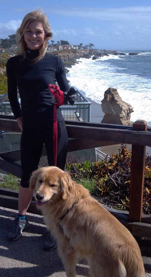 Lisa + dog, after a run in Santa Cruz.