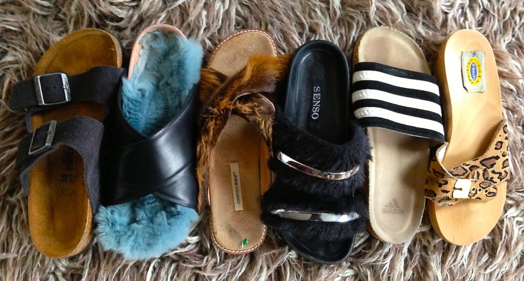 Shag some slides: my collection: Birkenstocks, Celine Furkenstocks, Chicco Ruiz fur, Senso Igloo, Adidas soccer slides, Dr. Scholl's.