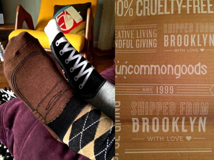 "Uncommongoods men's ""Shoe Socks"" for a ""meeting with the TV"" or run around the house!"
