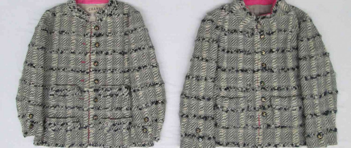 "Real Chanel jacket, left. Copy, on right. Source: FIT ""Faking It: Originals, Copies, and Counterfeits"" exhibit. Open 12.2.14 - 4.25.15"