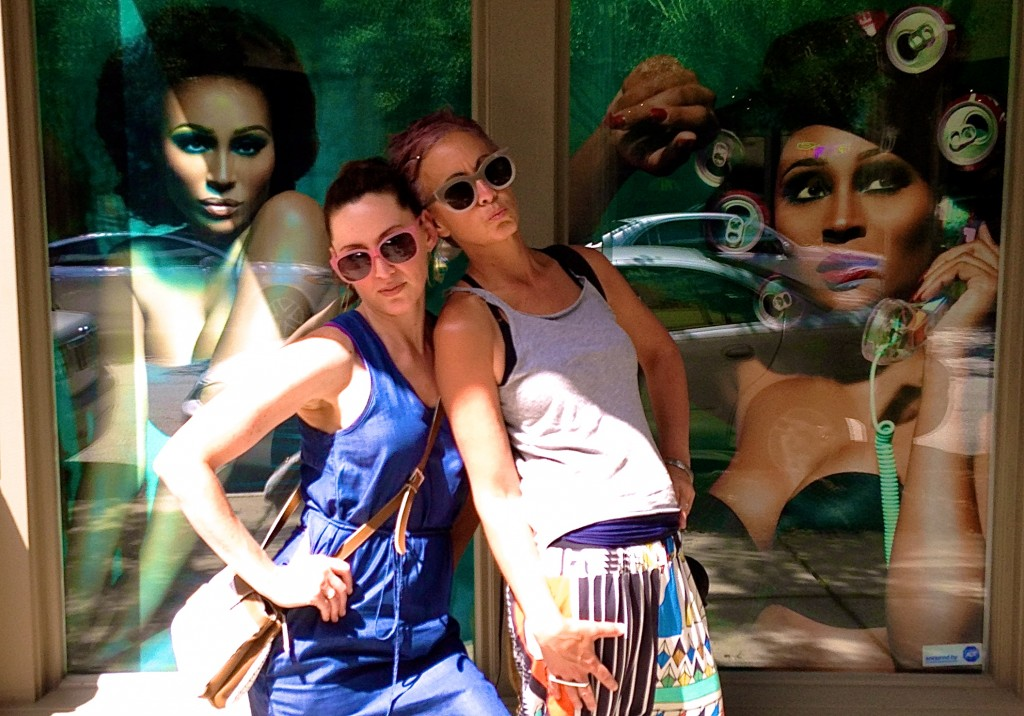 """Me and Shaz, trying to look fierce in front of Cynthia from The Real Housewive's of Atlanta's """"Bailey Agency"""" (modeling)."""