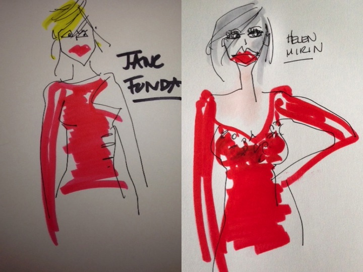 golden globes Jane fonda, Hellen mirren illustrations