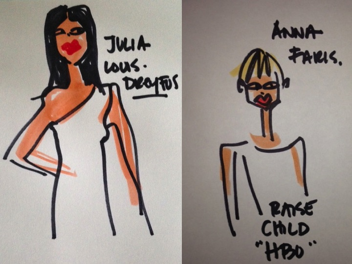 golden globes julia-louis-dreyfus, Anna Farris illustrations