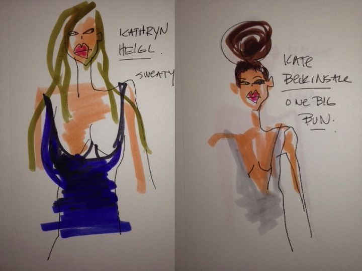 golden globes kate beckinsale, kathryn Heigl illustrations