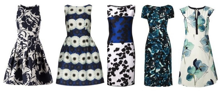 blue and white floral dresses
