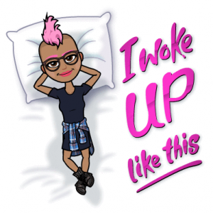 bitmoji I woke up like this paula mangin