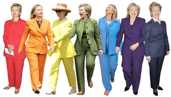 hillary clinton rainbow of pantsuits