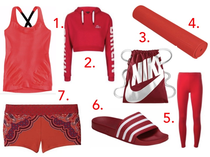 stylish yoga outfit red